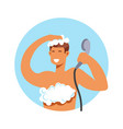 taking shower man in foam washing hair and body vector image