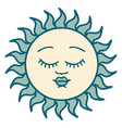 tattoo style icon a sun with face vector image vector image
