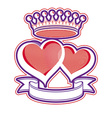 Two loving hearts with imperial crown Royal vector image vector image