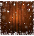 wooden brown christmas background with snowflakes vector image vector image