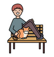 young man with cute cat in park chair vector image