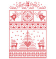 christmas pattern in rectangle frame in red white vector image