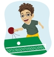 action shot of nerd boy playing table tennis vector image