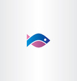blue purple fish icon symbol vector image vector image