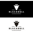 bull head silhouette with crown logo template vector image vector image