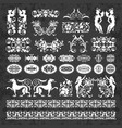calligraphic ornaments and elements on chalkboard vector image vector image
