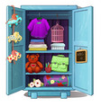 childrens wardrobe with clothes toys and stuff vector image vector image