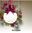 Christmas gift card with ribbon and Christmas vector image vector image