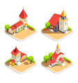 Church 4 Isometric Icons Set vector image vector image