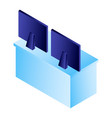computer monitor on table icon isometric style vector image
