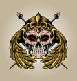 crown mexican sugar skull muertos with wings logo vector image vector image