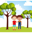 cute happy friendly little boys embraced in the vector image vector image