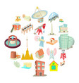 edifice icons set cartoon style vector image vector image