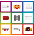 flat icon industry set of flange corrugated pipe vector image vector image