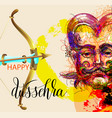 happy dussehra poster design with a portrait vector image vector image