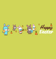 happy easter greeting card with rabbits wearing vector image vector image