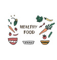 healthy food concept with lettering design vector image vector image