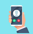 incoming call on mobile phone calling on vector image vector image