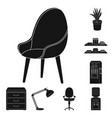 interior of the workplace black icons in set vector image