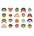 kids face painting with various character drawings vector image vector image