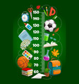 kids height chart growth meter with schoolbag vector image vector image