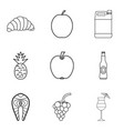 light meal icons set outline style vector image vector image