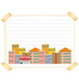 line paper template with buildings vector image vector image