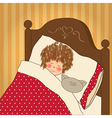 little girl sleep with her toy vector image