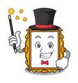 Magician picture frame mascot cartoon