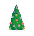 merry christmas decorative tree red balls vector image