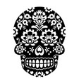 mexican sugar skull halloween skull with flowers vector image