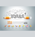 pencil ideas concept doodles icons set vector image vector image