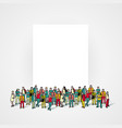 people crowd with blank banner vector image vector image