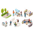 people drinking coffee isometric icons vector image