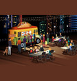 people eating taco at taco truck at night vector image vector image