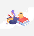 people study and read graduate student character vector image