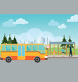 people waiting for a bus at the bus stop vector image vector image