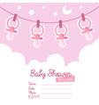 pink bashower invitation with pacifiers vector image vector image