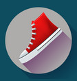 red sneakers shoes for city running shoe flat vector image vector image