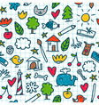 Seamless pattern with cute little drawings in the