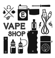 Set of black silhouette icons for vape shop vector image vector image