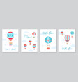 set of cards with hot air balloons vector image