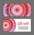 set templates gift cards with color ornament vector image