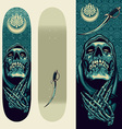 Skull Praying design on Skateboard Template vector image vector image
