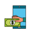 smartphone hand with banknote online shopping vector image