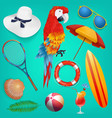 summer holiday objects set vector image vector image