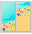 summer travel banners with beach umbrellas vector image vector image