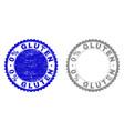textured 0 percents gluten grunge stamps vector image vector image