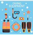 the are dive equipment icons includ vector image vector image