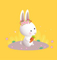 white bunny with flower wreath vector image